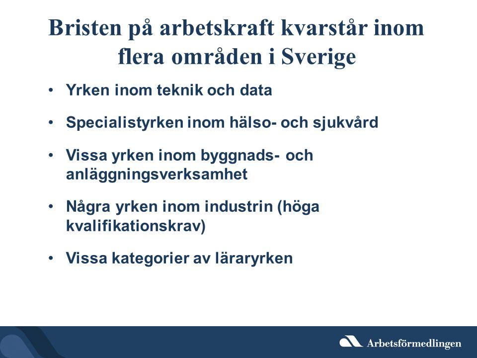 Bristen på arbetskraft kvarstår inom flera områden i Sverige Yrken inom teknik och data Specialistyrken inom hälso- och sjukvård Vissa yrken inom byggnads- och anläggningsverksamhet Några yrken inom industrin (höga kvalifikationskrav) Vissa kategorier av läraryrken
