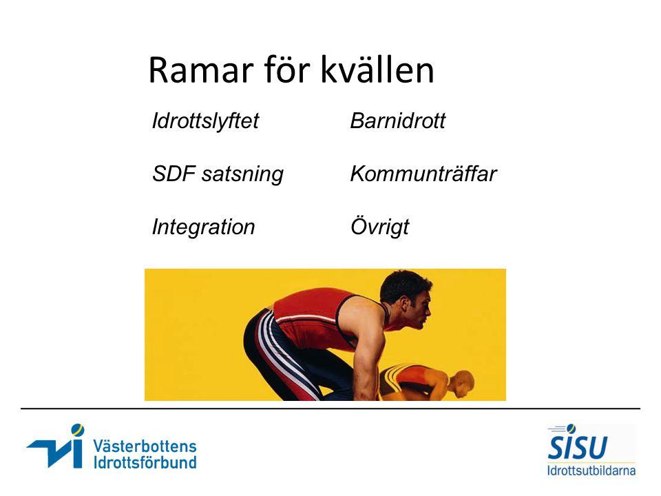 Ramar för kvällen IdrottslyftetBarnidrott SDF satsningKommunträffar IntegrationÖvrigt