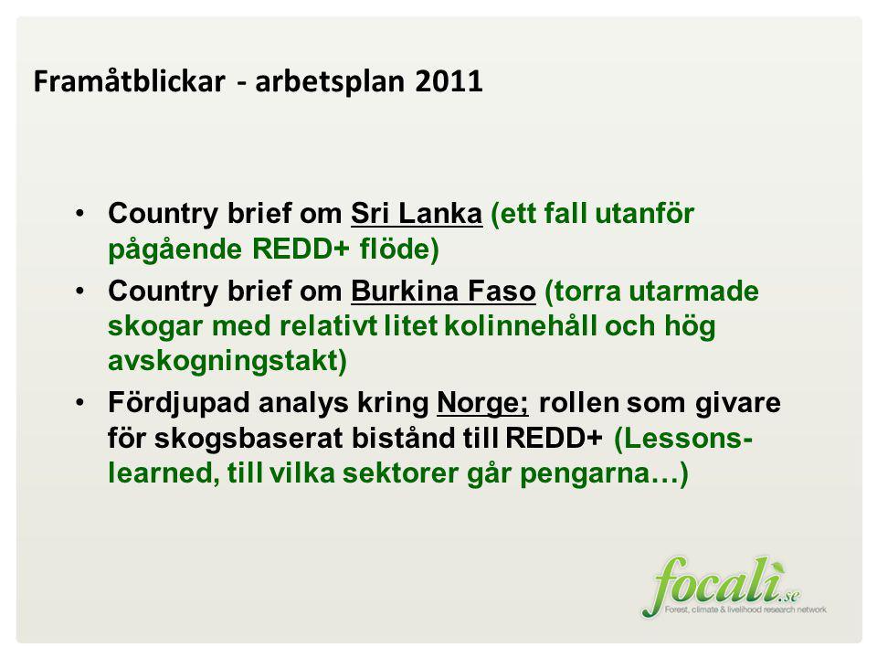Framåtblickar - arbetsplan 2011 Country brief om Sri Lanka (ett fall utanför pågående REDD+ flöde) Country brief om Burkina Faso (torra utarmade skogar med relativt litet kolinnehåll och hög avskogningstakt) Fördjupad analys kring Norge; rollen som givare för skogsbaserat bistånd till REDD+ (Lessons- learned, till vilka sektorer går pengarna…)