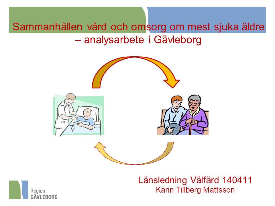Sammanhållen vård och omsorg om mest sjuka äldre – analysarbete i Gävleborg Länsledning Välfärd 140411 Karin Tillberg Mattsson