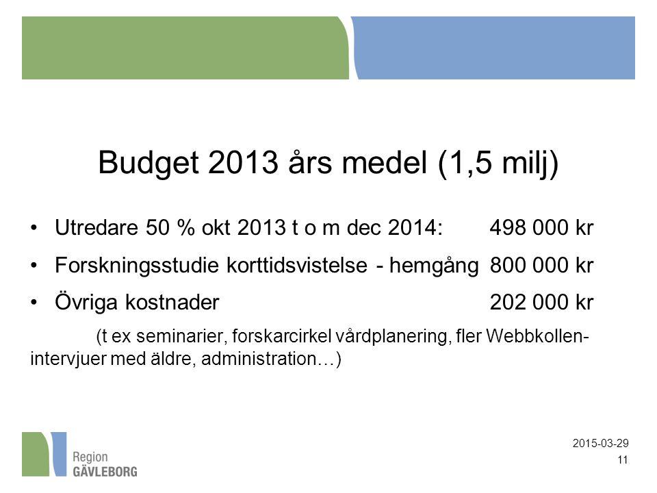 Budget 2013 års medel (1,5 milj) Utredare 50 % okt 2013 t o m dec 2014: 498 000 kr Forskningsstudie korttidsvistelse - hemgång800 000 kr Övriga kostnader202 000 kr (t ex seminarier, forskarcirkel vårdplanering, fler Webbkollen- intervjuer med äldre, administration…) 2015-03-29 11