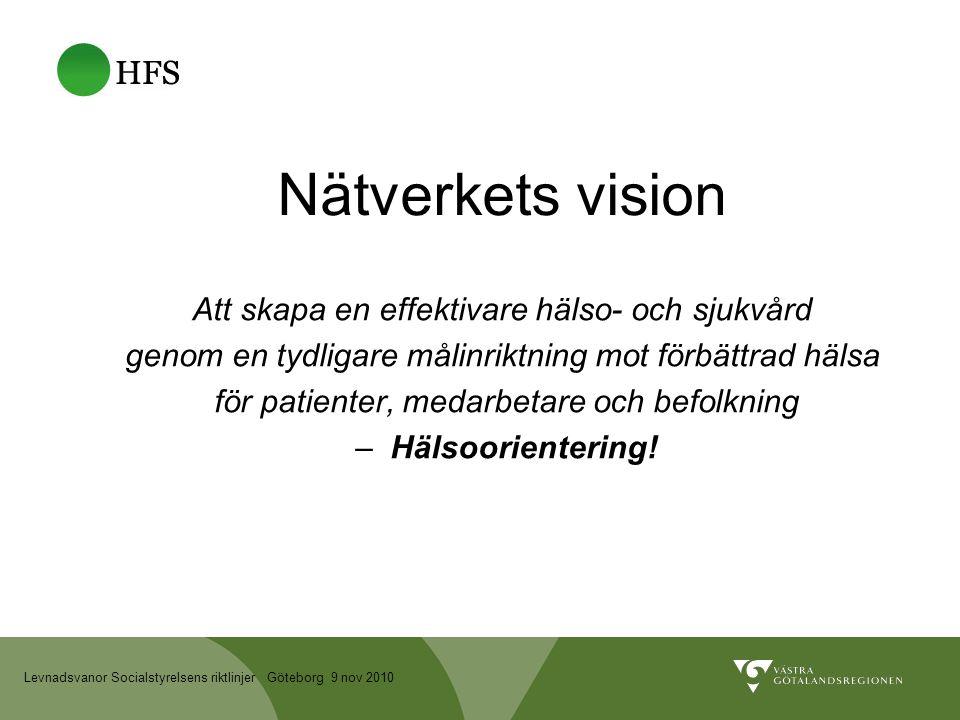 Levnadsvanor Socialstyrelsens riktlinjer Göteborg 9 nov 2010 Nätverkets vision Att skapa en effektivare hälso- och sjukvård genom en tydligare målinriktning mot förbättrad hälsa för patienter, medarbetare och befolkning – Hälsoorientering!