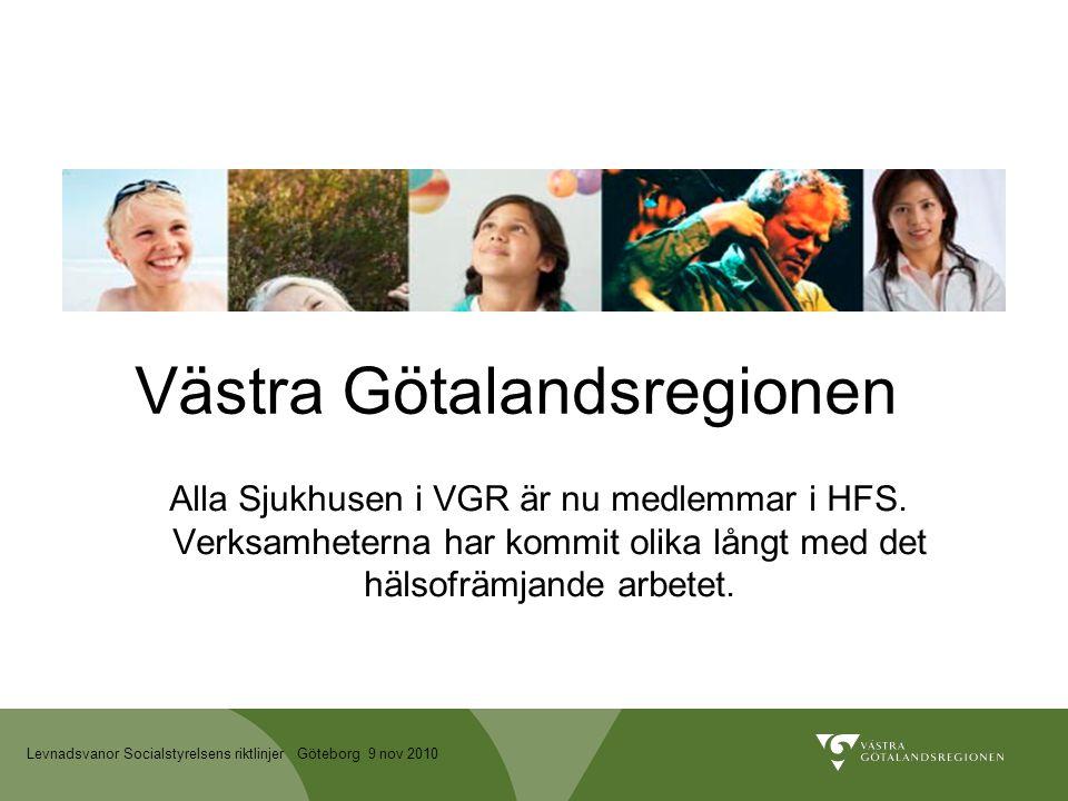 Levnadsvanor Socialstyrelsens riktlinjer Göteborg 9 nov 2010 Västra Götalandsregionen Alla Sjukhusen i VGR är nu medlemmar i HFS.
