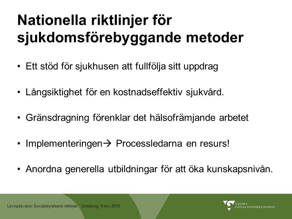 Levnadsvanor Socialstyrelsens riktlinjer Göteborg 9 nov 2010 Nationella riktlinjer för sjukdomsförebyggande metoder Ett stöd för sjukhusen att fullfölja sitt uppdrag Långsiktighet för en kostnadseffektiv sjukvård.