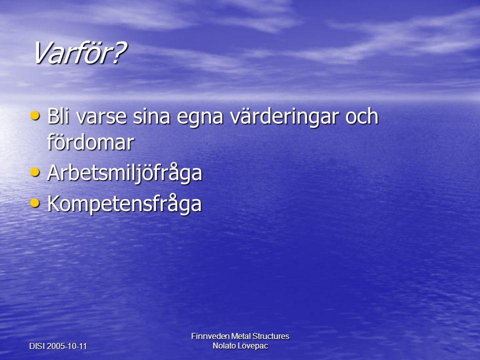 DISI 2005-10-11 Finnveden Metal Structures Nolato Lövepac Varför? Bli varse sina egna värderingar och fördomar Bli varse sina egna värderingar och för