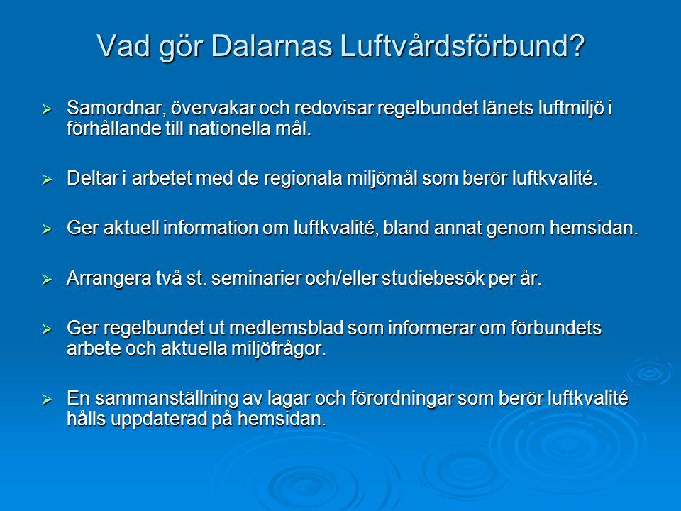Vad gör Dalarnas Luftvårdsförbund?  Samordnar, övervakar och redovisar regelbundet länets luftmiljö i förhållande till nationella mål.  Deltar i arb