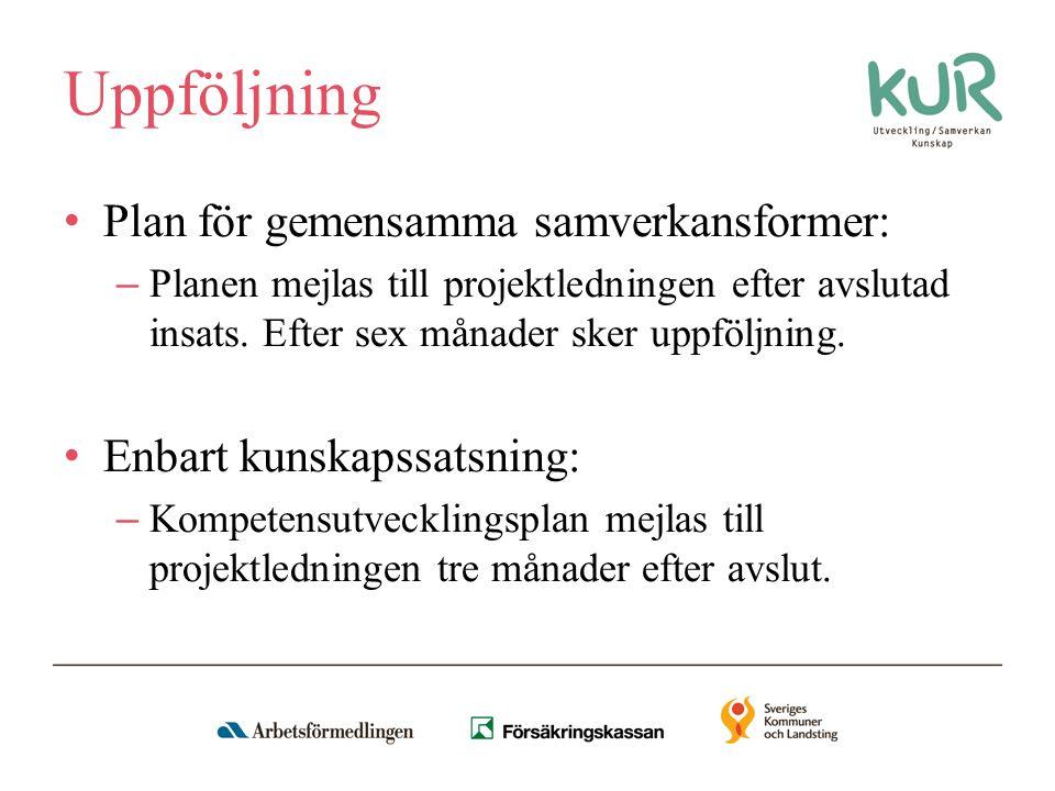 Uppföljning Plan för gemensamma samverkansformer: – Planen mejlas till projektledningen efter avslutad insats.
