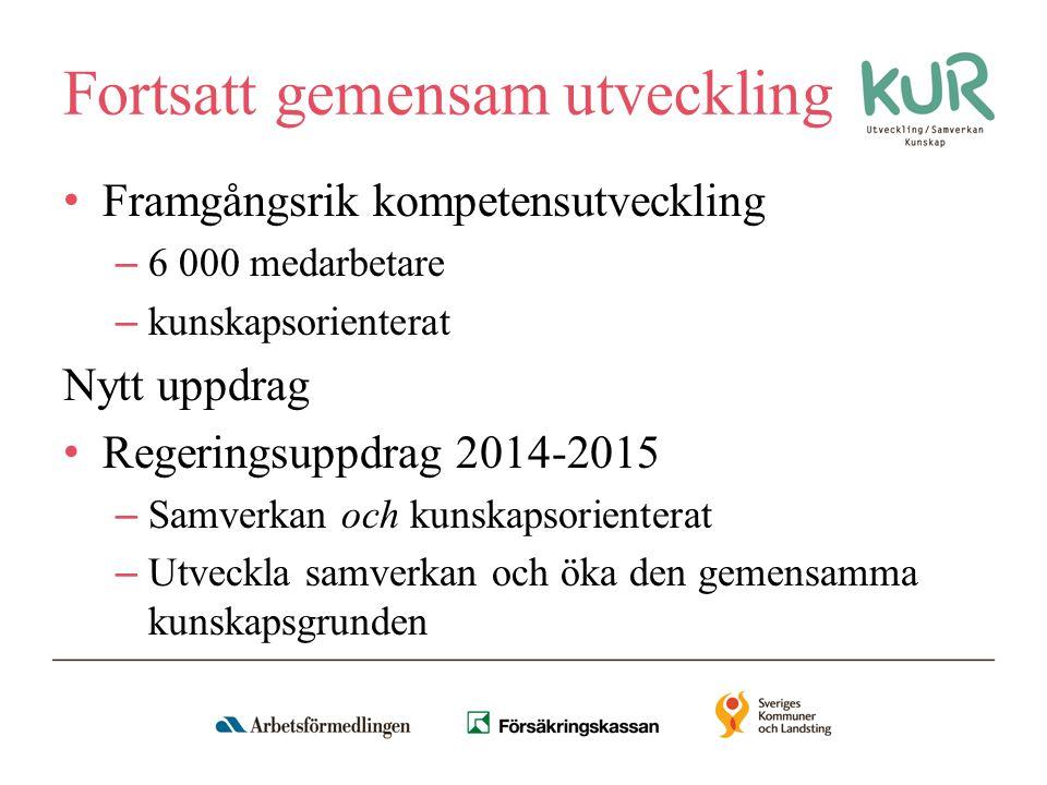 Fortsatt gemensam utveckling Framgångsrik kompetensutveckling – 6 000 medarbetare – kunskapsorienterat Nytt uppdrag Regeringsuppdrag 2014-2015 – Samverkan och kunskapsorienterat – Utveckla samverkan och öka den gemensamma kunskapsgrunden
