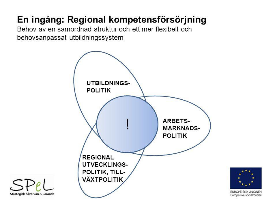 ! UTBILDNINGS- POLITIK ARBETS- MARKNADS- POLITIK REGIONAL UTVECKLINGS- POLITIK, TILL- VÄXTPOLITIK En ingång: Regional kompetensförsörjning Behov av en samordnad struktur och ett mer flexibelt och behovsanpassat utbildningssystem