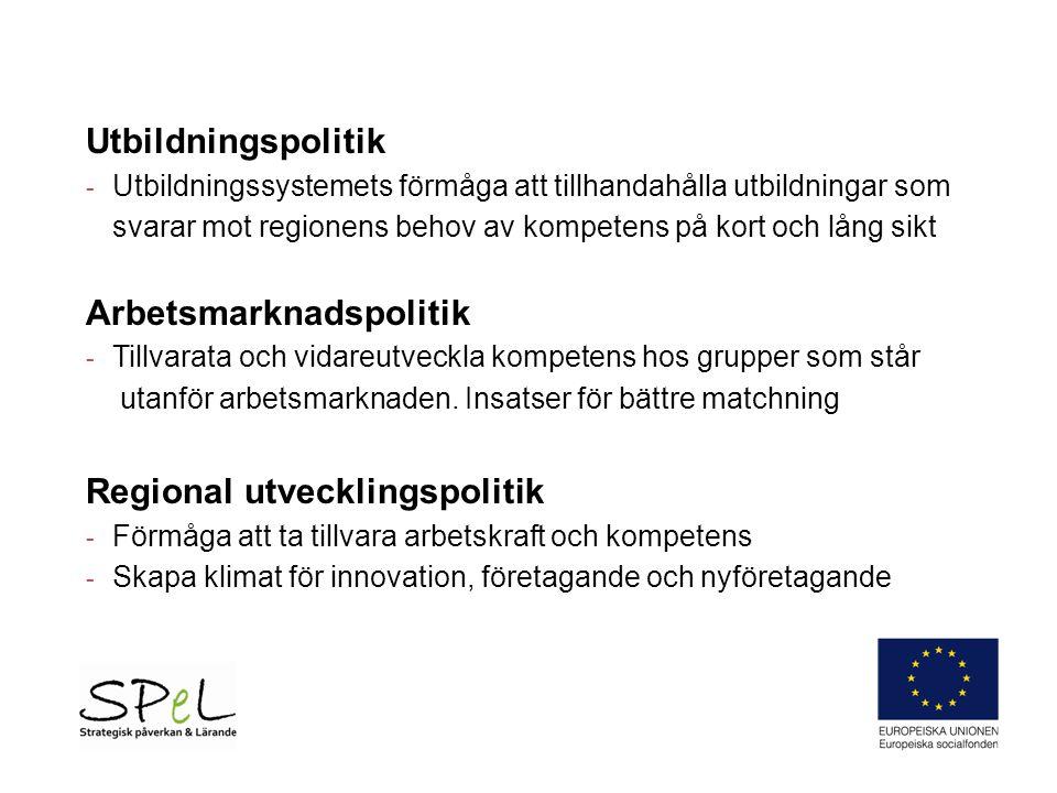 Utbildningspolitik - Utbildningssystemets förmåga att tillhandahålla utbildningar som svarar mot regionens behov av kompetens på kort och lång sikt Arbetsmarknadspolitik - Tillvarata och vidareutveckla kompetens hos grupper som står utanför arbetsmarknaden.