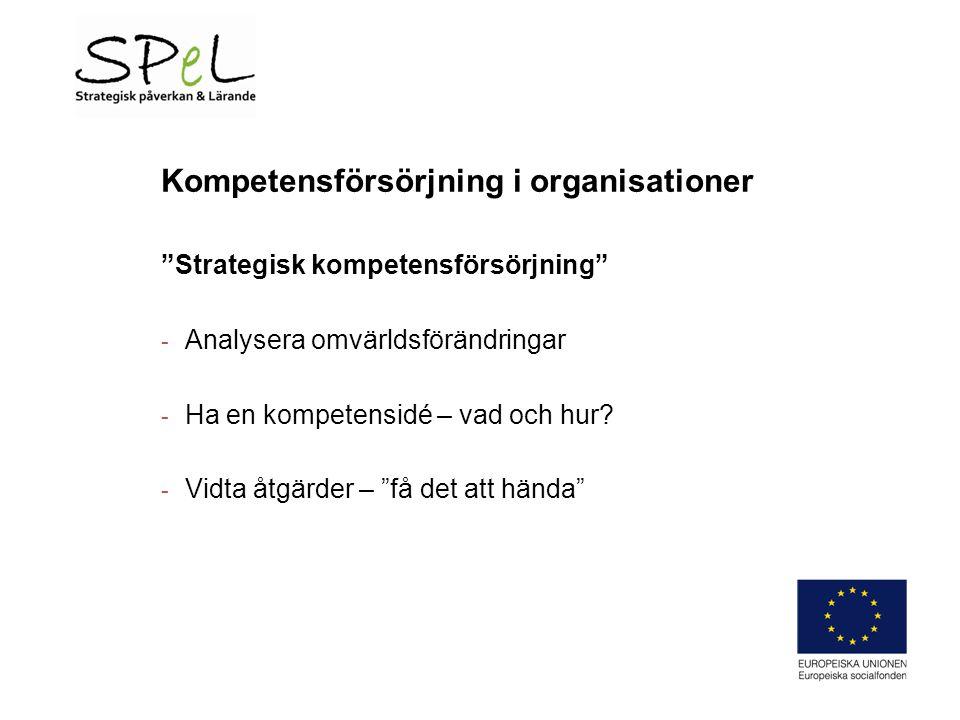 Kompetensförsörjning i organisationer Strategisk kompetensförsörjning - Analysera omvärldsförändringar - Ha en kompetensidé – vad och hur.