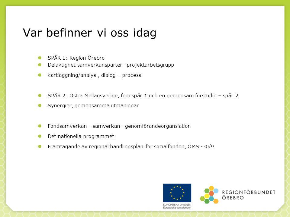 Var befinner vi oss idag SPÅR 1: Region Örebro Delaktighet samverkansparter - projektarbetsgrupp kartläggning/analys, dialog – process SPÅR 2: Östra Mellansverige, fem spår 1 och en gemensam förstudie – spår 2 Synergier, gemensamma utmaningar Fondsamverkan – samverkan - genomförandeorgansiation Det nationella programmet Framtagande av regional handlingsplan för socialfonden, ÖMS -30/9