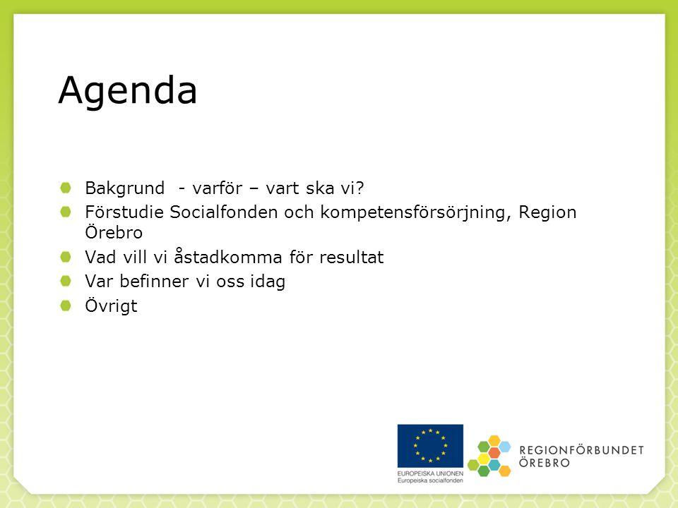 Agenda Bakgrund - varför – vart ska vi.