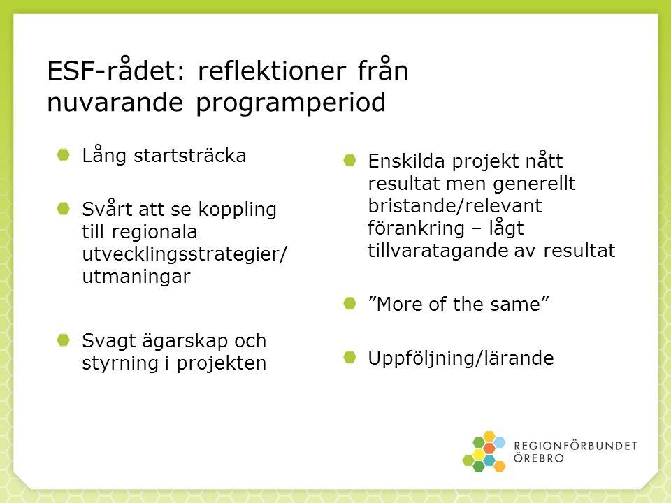 Lång startsträcka Svårt att se koppling till regionala utvecklingsstrategier/ utmaningar Svagt ägarskap och styrning i projekten Enskilda projekt nått resultat men generellt bristande/relevant förankring – lågt tillvaratagande av resultat More of the same Uppföljning/lärande ESF-rådet: reflektioner från nuvarande programperiod