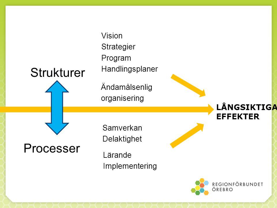 Strukturer Vision Strategier Program Handlingsplaner Ändamålsenlig organisering Processer Samverkan Delaktighet Lärande Implementering LÅNGSIKTIGA EFFEKTER