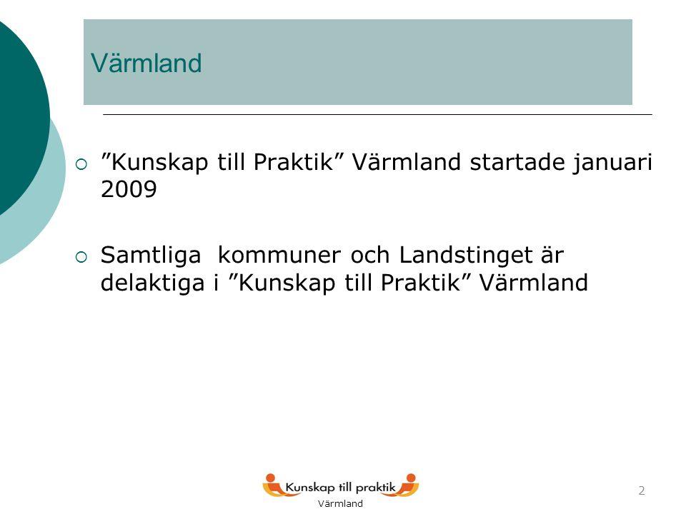 Värmland  Kunskap till Praktik Värmland startade januari 2009  Samtliga kommuner och Landstinget är delaktiga i Kunskap till Praktik Värmland 2 Värmland