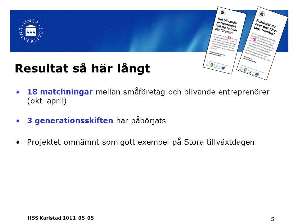 Resultat så här långt 18 matchningar mellan småföretag och blivande entreprenörer (okt–april) 3 generationsskiften har påbörjats Projektet omnämnt som gott exempel på Stora tillväxtdagen 5 HSS Karlstad 2011-05-05