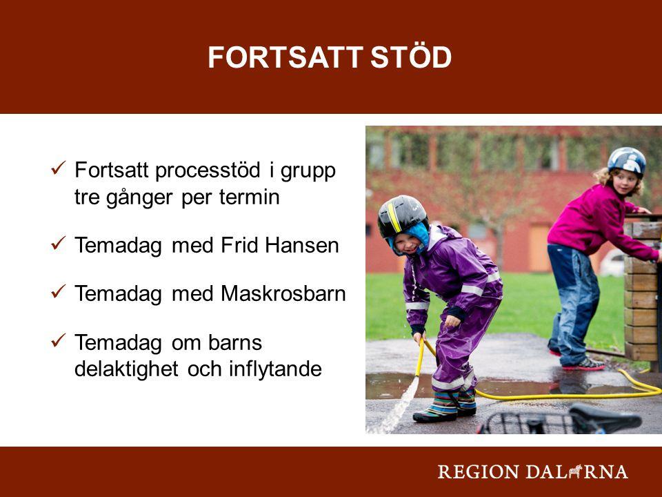 Fortsatt processtöd i grupp tre gånger per termin Temadag med Frid Hansen Temadag med Maskrosbarn Temadag om barns delaktighet och inflytande FORTSATT STÖD