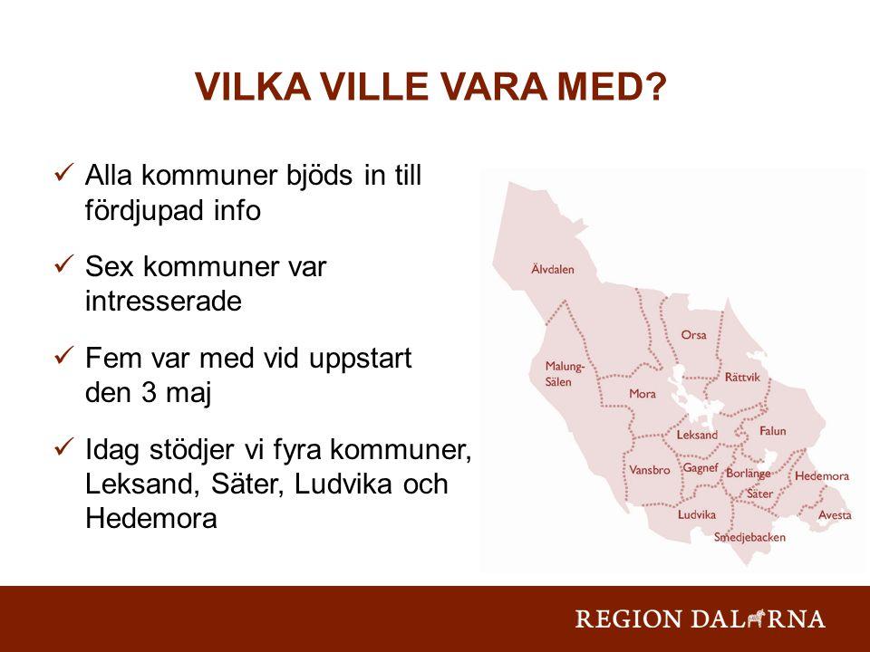 Alla kommuner bjöds in till fördjupad info Sex kommuner var intresserade Fem var med vid uppstart den 3 maj Idag stödjer vi fyra kommuner, Leksand, Säter, Ludvika och Hedemora VILKA VILLE VARA MED