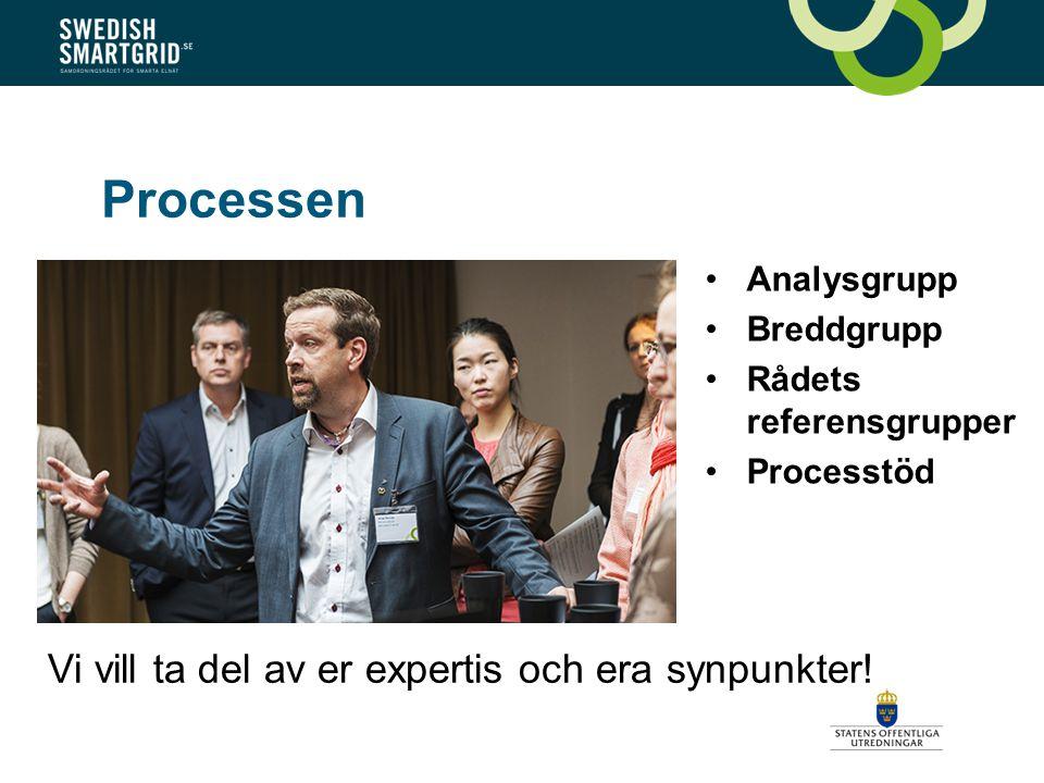 Processen Analysgrupp Breddgrupp Rådets referensgrupper Processtöd Vi vill ta del av er expertis och era synpunkter!