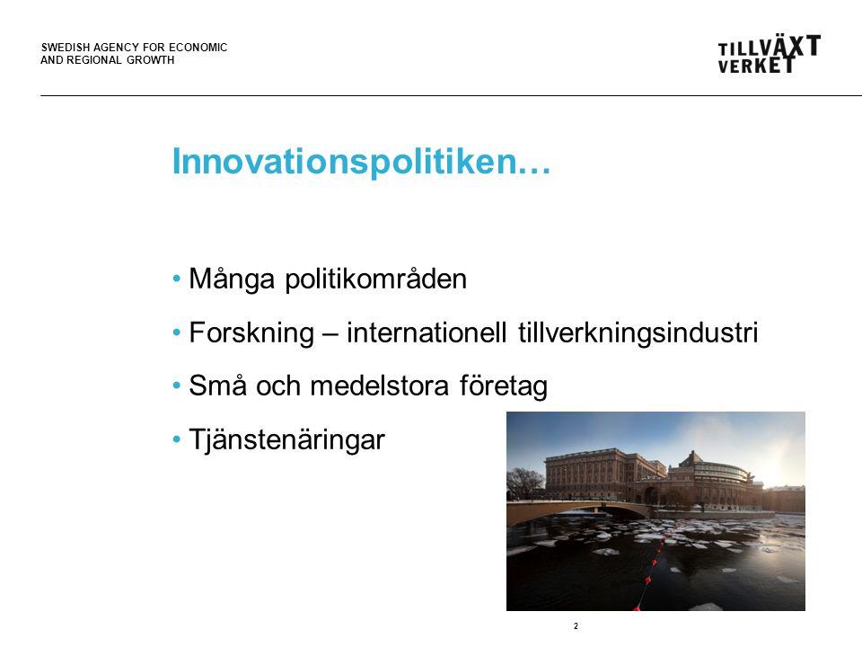 SWEDISH AGENCY FOR ECONOMIC AND REGIONAL GROWTH Innovationer Forskning Entreprenörskap.