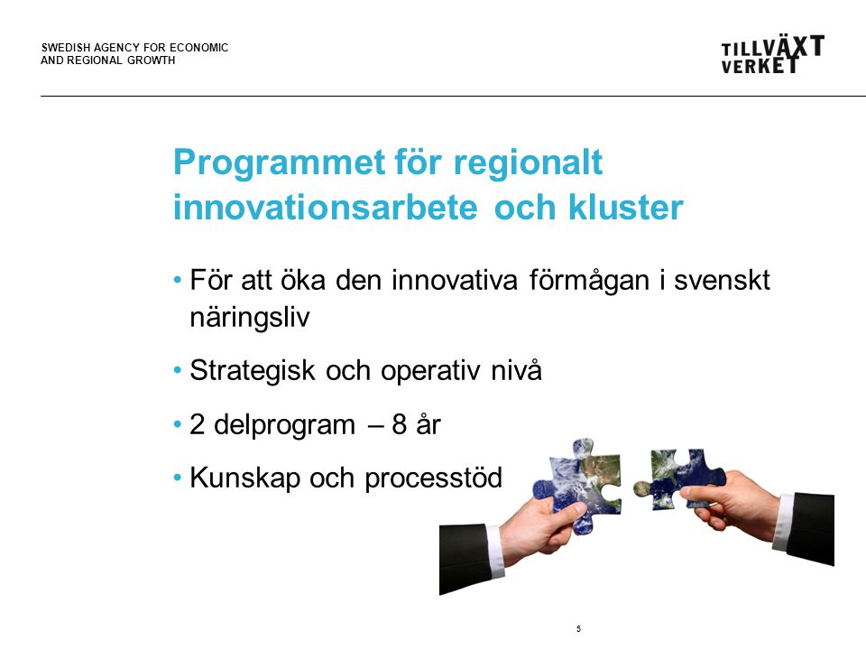 SWEDISH AGENCY FOR ECONOMIC AND REGIONAL GROWTH Programmet för regionalt innovationsarbete och kluster För att öka den innovativa förmågan i svenskt näringsliv Strategisk och operativ nivå 2 delprogram – 8 år Kunskap och processtöd 5