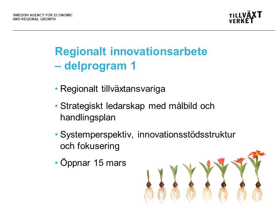 SWEDISH AGENCY FOR ECONOMIC AND REGIONAL GROWTH Regionalt innovationsarbete – delprogram 1 Intresseanmälan med problembeskrivning Projektansökan arbetas fram i dialog Tillväxtverket vill delta aktivt, bl.a.