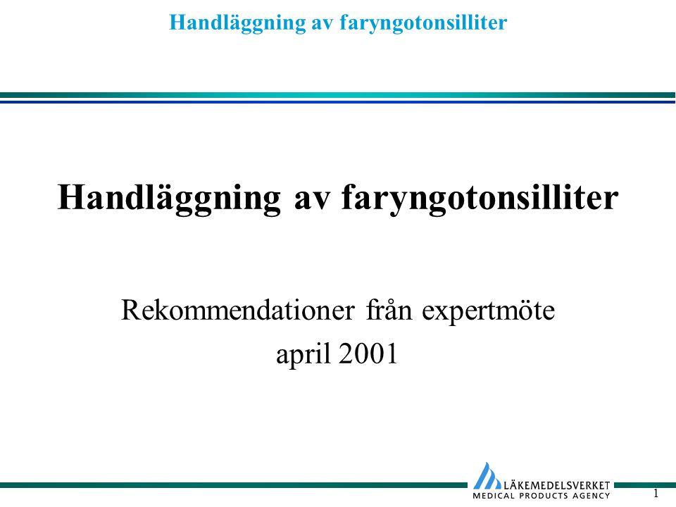 Handläggning av faryngotonsilliter 2 Bakgrund Faryngotonsillit vanligt skäl till antibiotikaförskrivning Viktigt minska onödig antibiotika- användning och därmed minska risken för ökad antibiotikaresistens Nya behandlingsrekommendationer