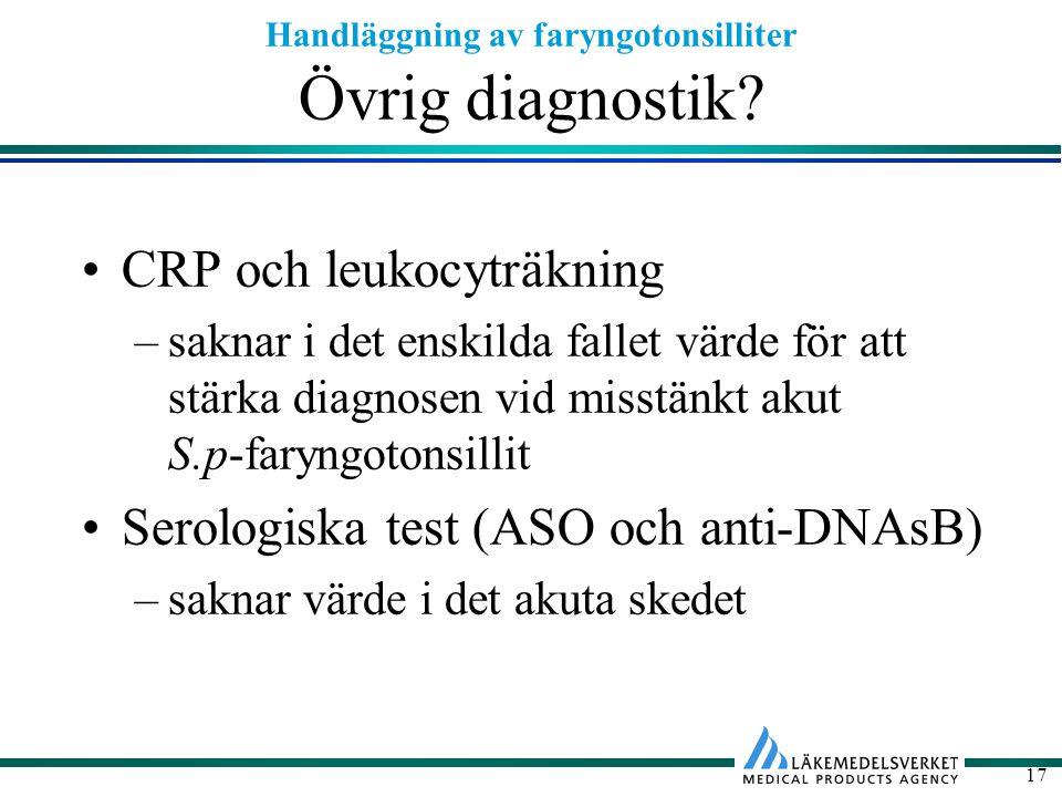 Handläggning av faryngotonsilliter 17 Övrig diagnostik? CRP och leukocyträkning –saknar i det enskilda fallet värde för att stärka diagnosen vid misst