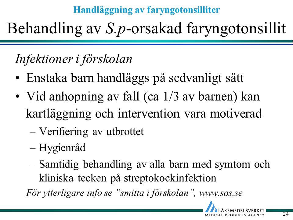 Handläggning av faryngotonsilliter 24 Behandling av S.p-orsakad faryngotonsillit Infektioner i förskolan Enstaka barn handläggs på sedvanligt sätt Vid