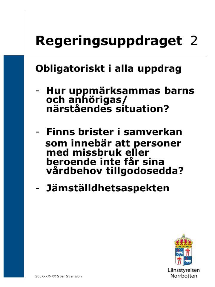 200X-XX-XX Sven Svensson Regeringsuppdraget 2 Obligatoriskt i alla uppdrag -Hur uppmärksammas barns och anhörigas/ närståendes situation? -Finns brist