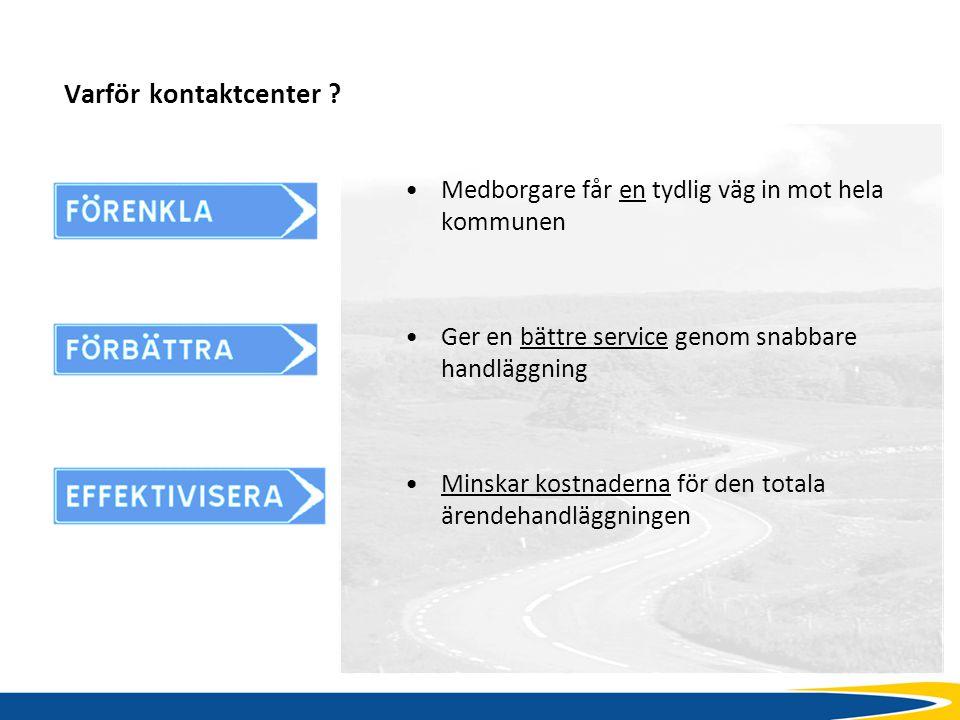 Varför kontaktcenter ? Medborgare får en tydlig väg in mot hela kommunen Ger en bättre service genom snabbare handläggning Minskar kostnaderna för den