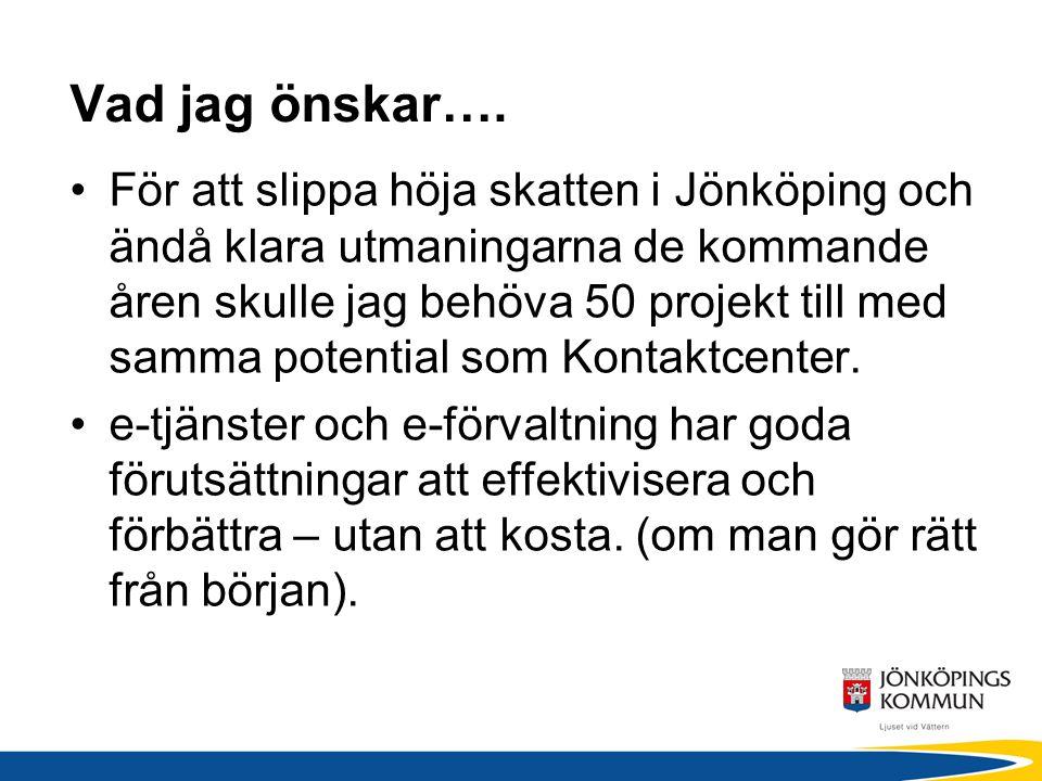 Vad jag önskar…. För att slippa höja skatten i Jönköping och ändå klara utmaningarna de kommande åren skulle jag behöva 50 projekt till med samma pote