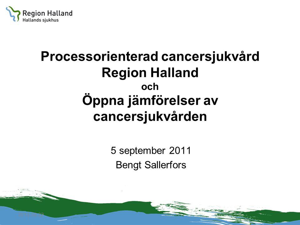 2010-04-22 Processorienterad cancersjukvård Region Halland och Öppna jämförelser av cancersjukvården 5 september 2011 Bengt Sallerfors