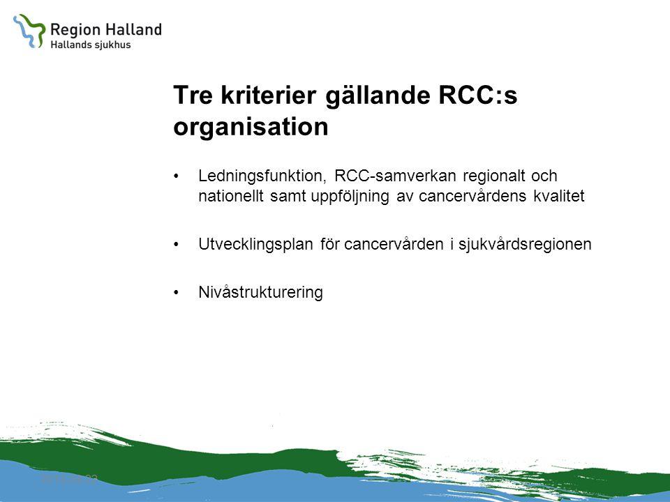 2010-04-22 Tre kriterier gällande RCC:s organisation Ledningsfunktion, RCC-samverkan regionalt och nationellt samt uppföljning av cancervårdens kvalit