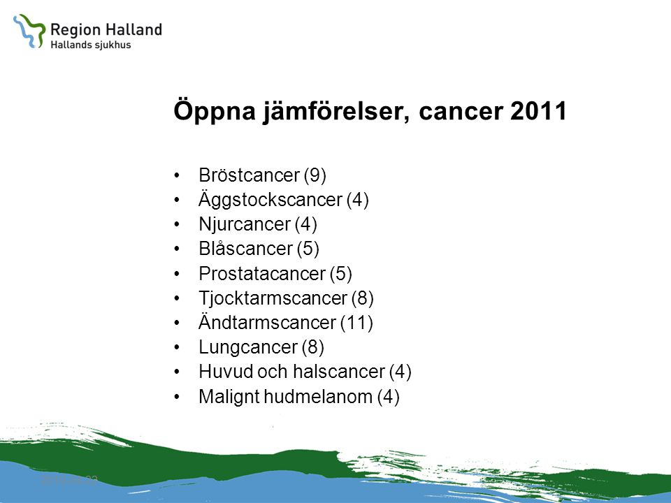 2010-04-22 Öppna jämförelser, cancer 2011 Bröstcancer (9) Äggstockscancer (4) Njurcancer (4) Blåscancer (5) Prostatacancer (5) Tjocktarmscancer (8) Än