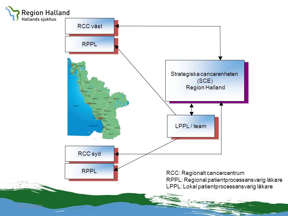 2010-04-22 RCC väst RPPL RCC syd RPPL RCC: Regionalt cancercentrum RPPL: Regional patientprocessansvarig läkare LPPL: Lokal patientprocessansvarig läk