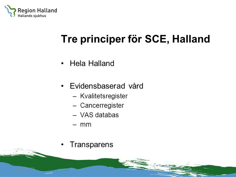 Tre principer för SCE, Halland Hela Halland Evidensbaserad vård –Kvalitetsregister –Cancerregister –VAS databas –mm Transparens