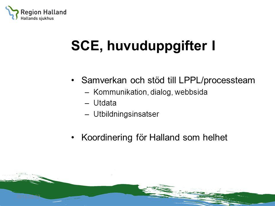 2010-04-22 SCE, huvuduppgifter I Samverkan och stöd till LPPL/processteam –Kommunikation, dialog, webbsida –Utdata –Utbildningsinsatser Koordinering f