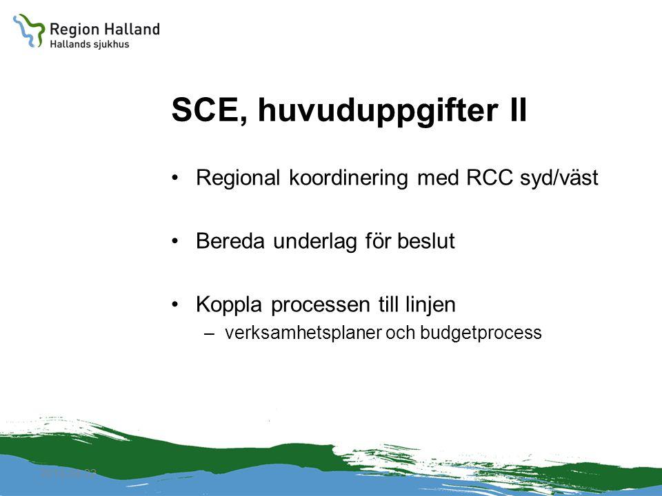 2010-04-22 SCE, huvuduppgifter II Regional koordinering med RCC syd/väst Bereda underlag för beslut Koppla processen till linjen –verksamhetsplaner oc