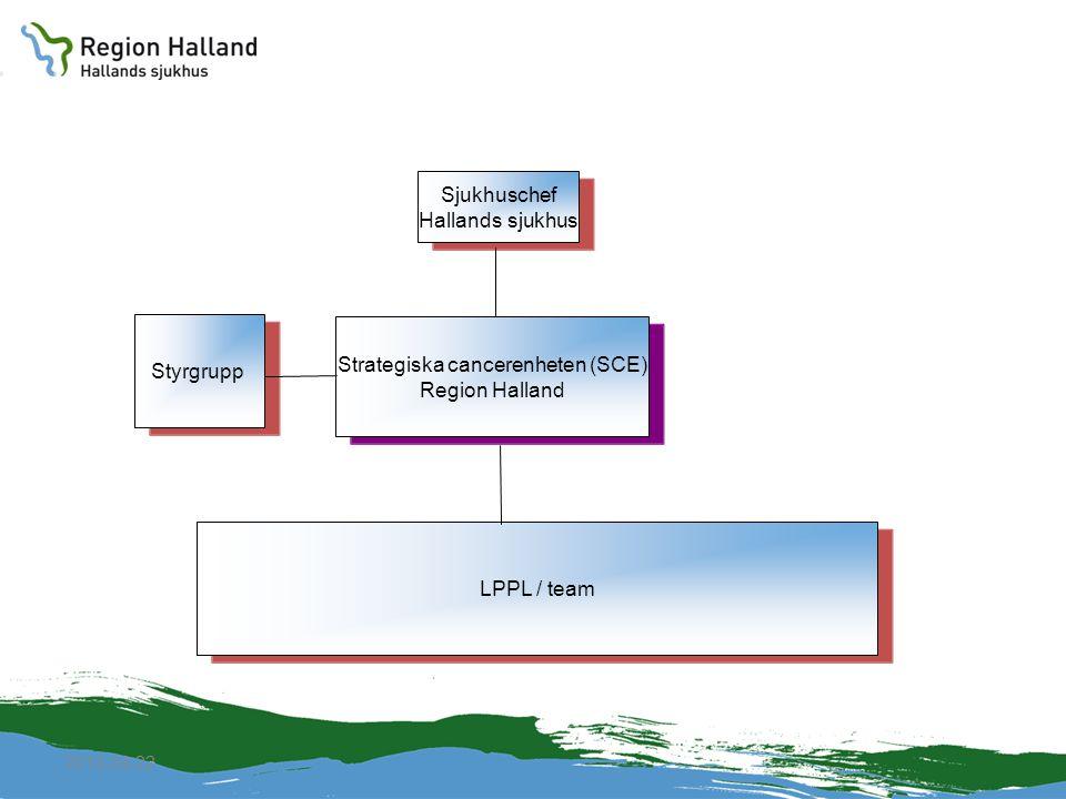 2010-04-22 Strategiska cancerenheten (SCE) Region Halland Sjukhuschef Hallands sjukhus LPPL / teamStyrgrupp