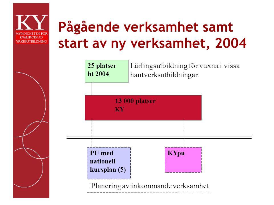 Pågående verksamhet samt start av ny verksamhet, 2004 Fakta 25 platser ht 2004 13 000 platser K Y PU med nationell kursplan (5) KYpu Planering av inkommande verksamhet Lärlingsutbildning för vuxna i vissa hantverksutbildningar