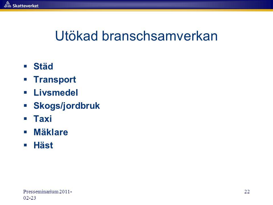 Presseminarium 2011- 02-23 22 Utökad branschsamverkan  Städ  Transport  Livsmedel  Skogs/jordbruk  Taxi  Mäklare  Häst