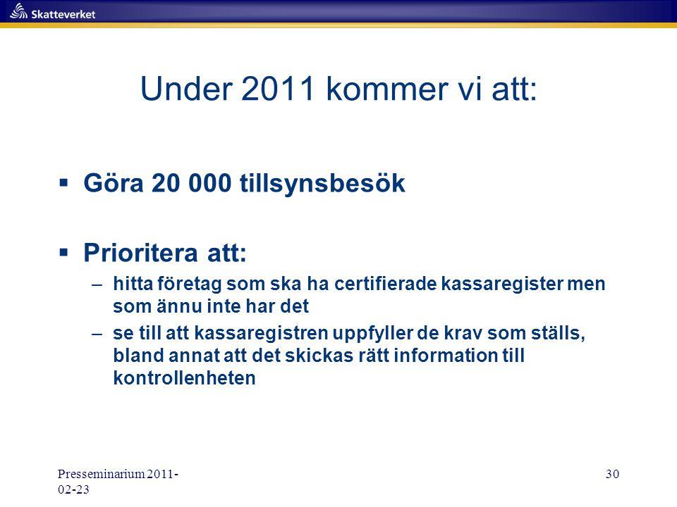 Presseminarium 2011- 02-23 30 Under 2011 kommer vi att:  Göra 20 000 tillsynsbesök  Prioritera att: –hitta företag som ska ha certifierade kassaregi
