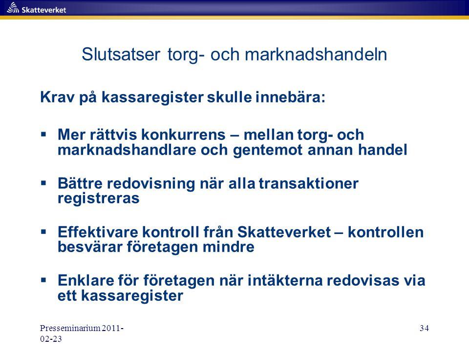 Presseminarium 2011- 02-23 34 Slutsatser torg- och marknadshandeln Krav på kassaregister skulle innebära:  Mer rättvis konkurrens – mellan torg- och
