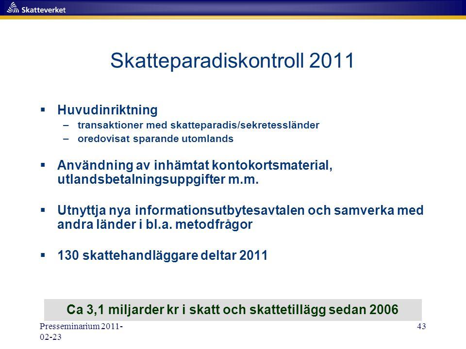 Presseminarium 2011- 02-23 43 Skatteparadiskontroll 2011  Huvudinriktning –transaktioner med skatteparadis/sekretessländer –oredovisat sparande utoml