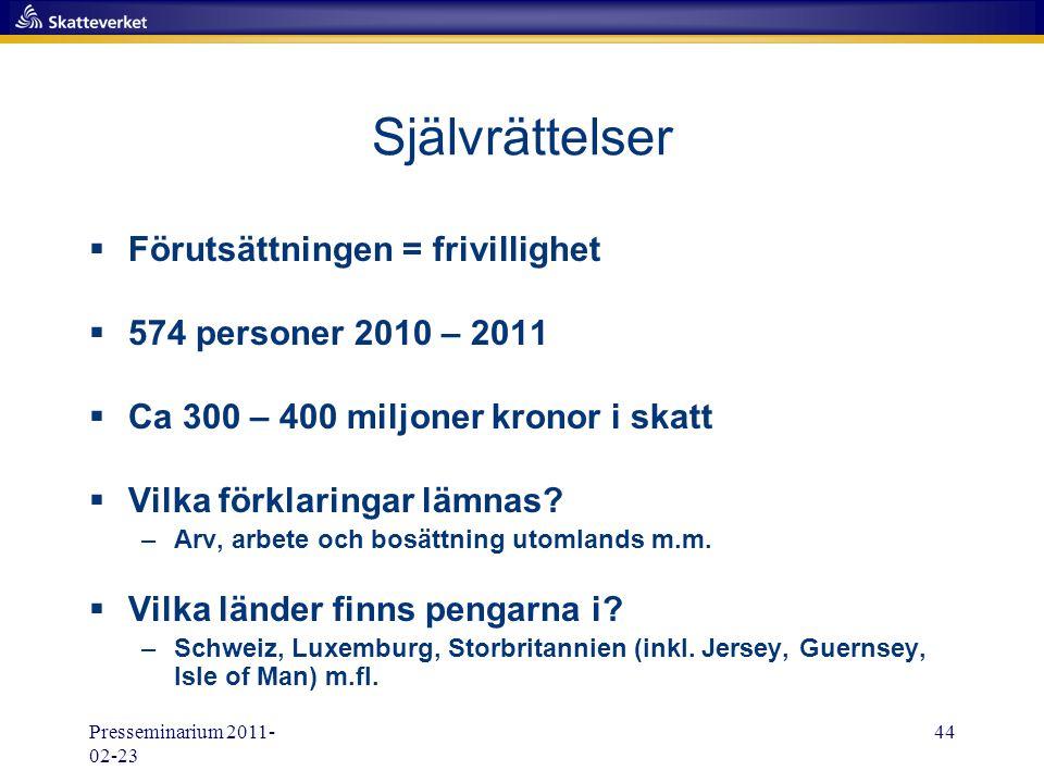 Presseminarium 2011- 02-23 44 Självrättelser  Förutsättningen = frivillighet  574 personer 2010 – 2011  Ca 300 – 400 miljoner kronor i skatt  Vilk