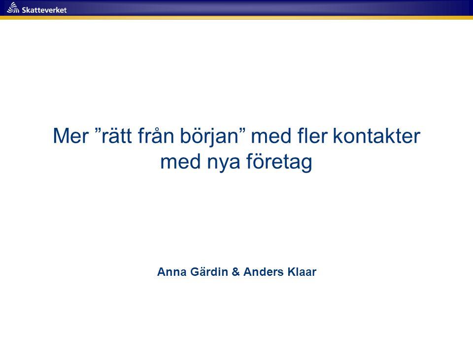 """Mer """"rätt från början"""" med fler kontakter med nya företag Anna Gärdin & Anders Klaar"""