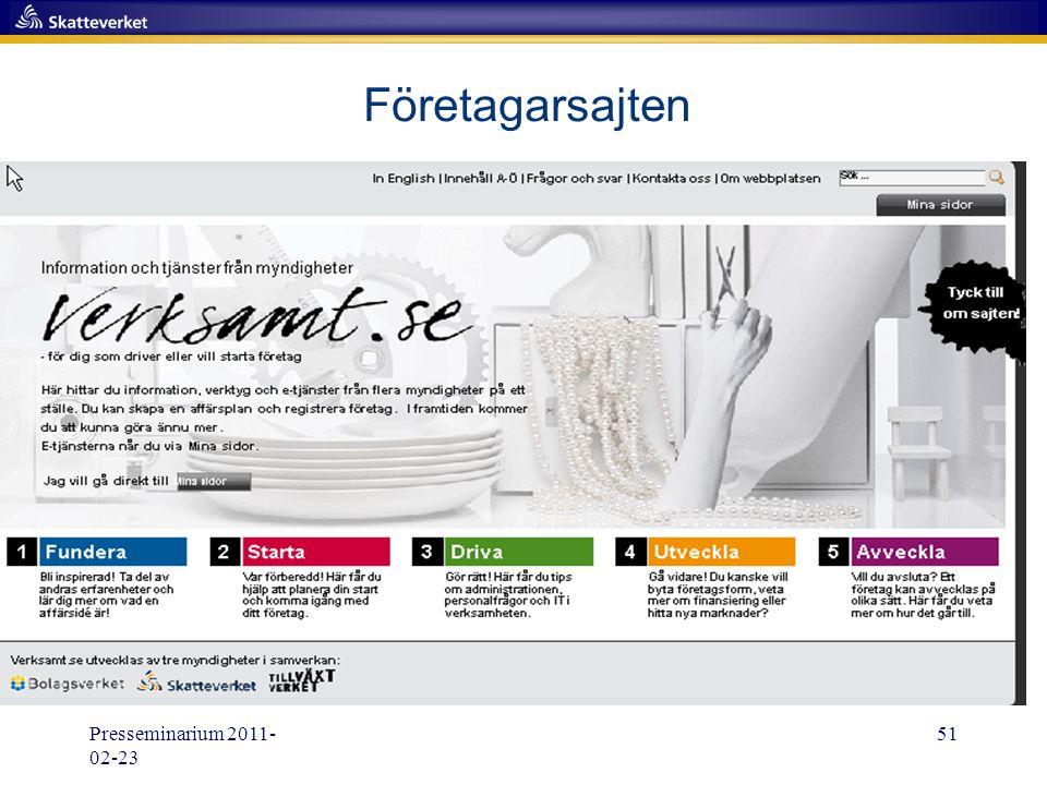 Presseminarium 2011- 02-23 51 Företagarsajten