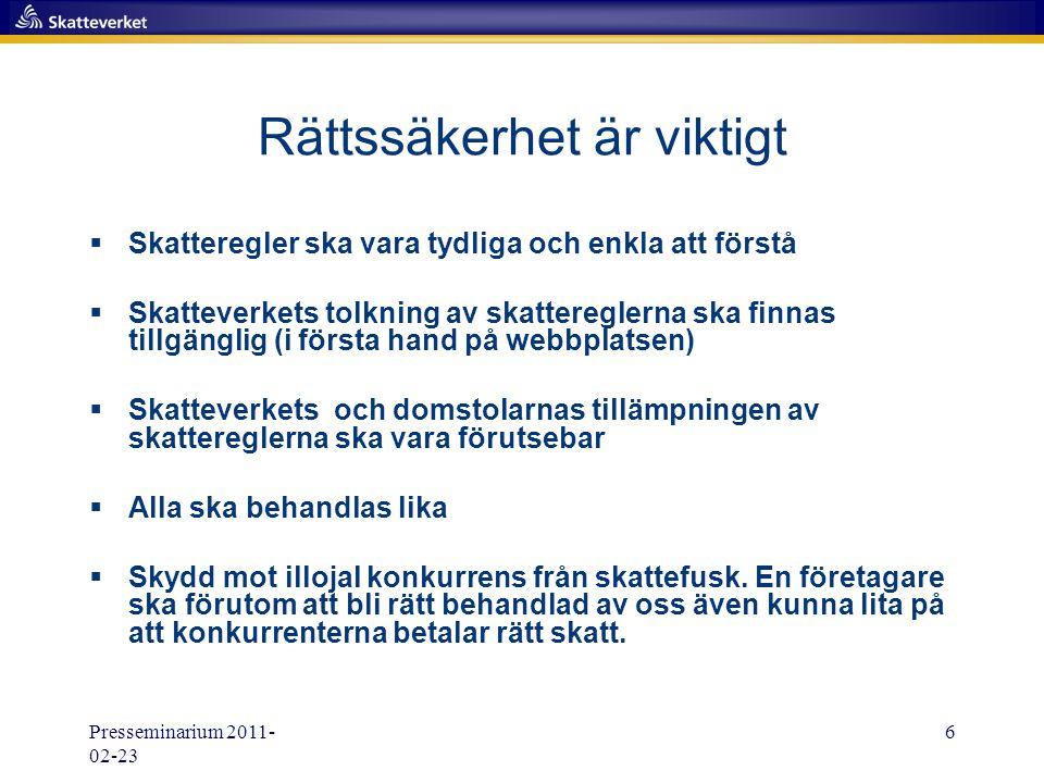 Presseminarium 2011- 02-23 17 Upphandling i Sverige Offentliga sektorn  Ca 400 miljarder kr för år 2010  Prognos ca 500 miljarder kr för år 2014  Skatteverkets samarbeten omfattar idag ca 250 miljarder kr –Beräknas omfatta 350 miljarder kr år 2014